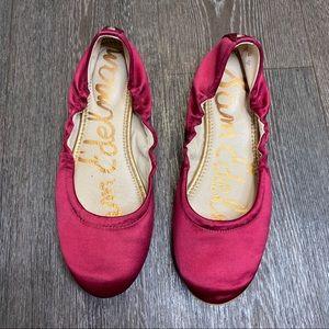 Sam Edelman Cranberry Satin Ballet Flats